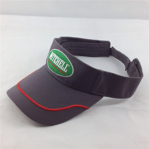 embroidery/printed sun visor hat for running with binding