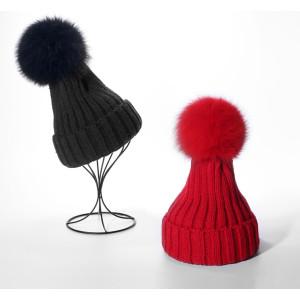 custom plain beanie hat with faux fox fur pom pom