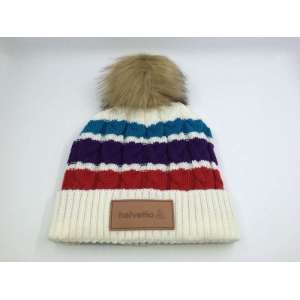 custom polar fleece lining knitted beanie hat with FAKE RACCOON POMPOM