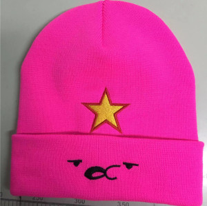 high quality knitted  beanie cuff hat  with cartoon embroidery