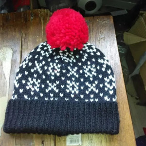 jacquard weave heavy yarn knitted hats warm  winter caps