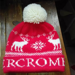 wholesale custom Christmas deer red knitted hat with pom pom
