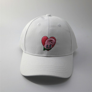 custom white cotton baseball cap and hat with embroidered rabbit