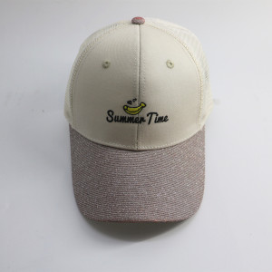 high quality summer fruit embroidered logo mesh trucker cap with paillette