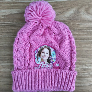 customized pink thick knit hat for kid with cartoon patches