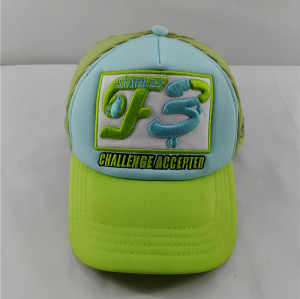 strip mesh trucker cap with custom 3D embroidered F3 logo
