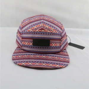 custom digital print logo 100% polyester 5 panel hat with leather patches