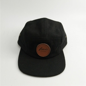 soft and comfortable 50% wool 5 panel hat with real leather patches