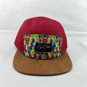 new style fashion 5 panel hat with faux suede brim