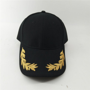 100% acrylic navy military baseball cap with metal gold embroidered olive leaf
