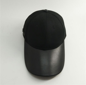 custom long leather brim / visor cap with aembossed metal buckle