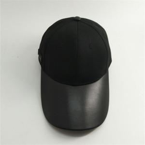 custom long leather brim / visor cap with aembossed metal buckle