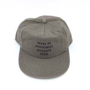 custom classical washed soft unstructured khaki 5 panels flat brim snapback cap with embroidery made in chinese hat factory