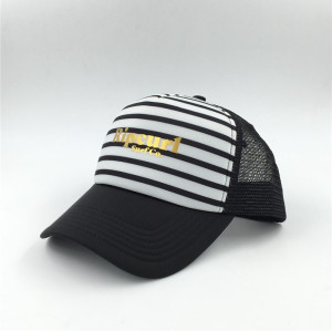 customize new design high quality foam polyester stripe surfing mesh trucker hat with gold stamp logo