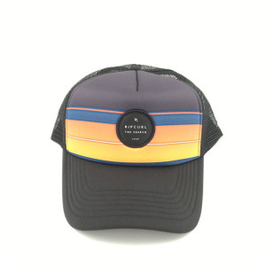 best quality printed contrast color stripe curved brim Breathability surfing mesh trucker hat with custom circle woven patch