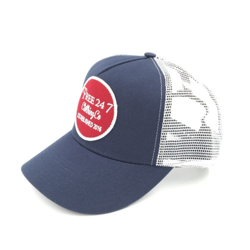0b59ed8d2e0 high quality curved brim Breathability surfing mesh trucker hat with custom  circle woven patch