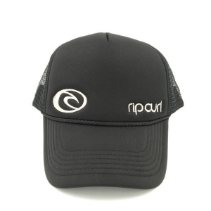 82c4d635 China hat factory foam polyester mesh trucker with custom silver  embroidered logo