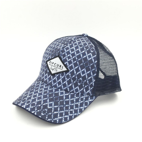 f1ba89ae142ba wholesale navy rhombus five panels mesh trucker with custom woven logo made  in china