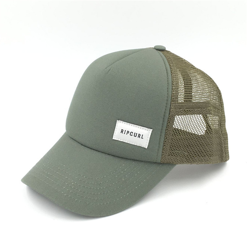 f971ce521c wholesale olive green five panels mesh trucker with custom woven logo made  in china