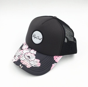 wholesale sublimate printed pattern  five panels mesh trucker with custom woven patch logo made in china