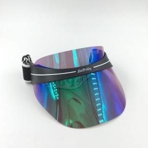 2018 new design fashion PPC laser reflect  sun visor hat with custom logo elastic strap