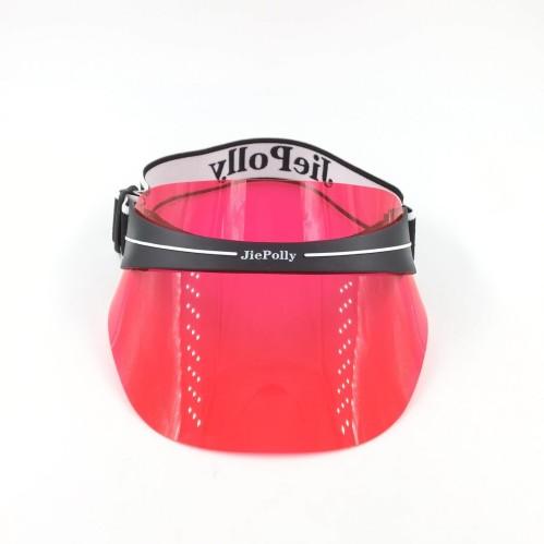 5da06c5598eabc new design fashion PPC transparent rose red sun visor hat with custom logo  elastic strap