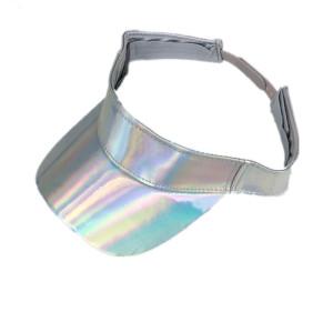 wholesale custom blank plain  Laser reflect  PU leather sun visor hat