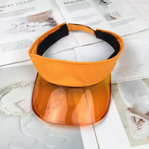 wholesale customized 100% cotton sun visor hat and cap with colorful transparent plastic peak/brim/visor