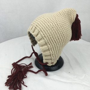 wholesale custom colorful girl cute lovely autumn and winter hat yarn knitted earflaps hat with braid