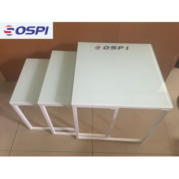 OSPI 3 Set of White Concol Glass Coffee Table