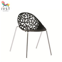 Modern Elegent PP Seat Steel Tube Colorful Plastic Waiting Chair
