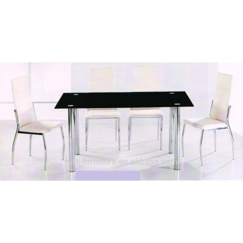 cheap tempered glass dining table with chrome leg dining