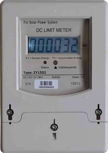 Fully electronic energy meters Energy Limiter for Solar, Wind or Hybrid Power