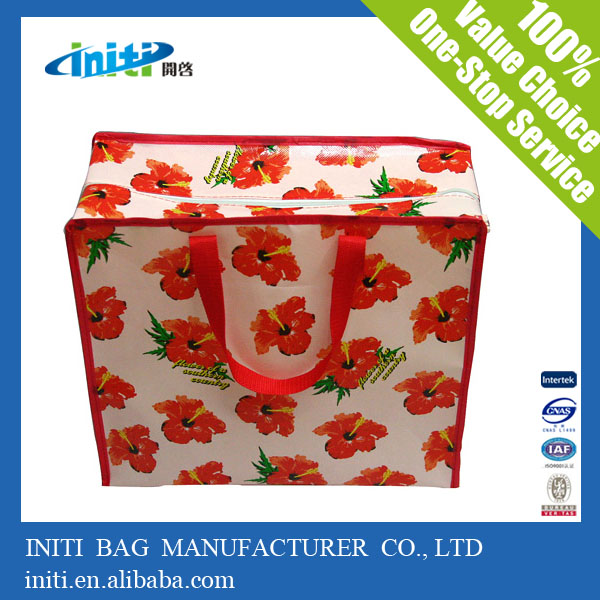 promotional pp woven shopping bag with zipper, recyclable and ...