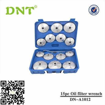 Juego 15 piezas de cazoletas para extraer filtros de aceite, aluminio diecast