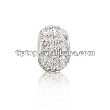 Bling jewelry 925 sterling silver white crystal bead fits Pugster