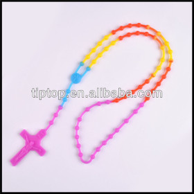 promotional customize silicone charm rosary necklace with cross charm