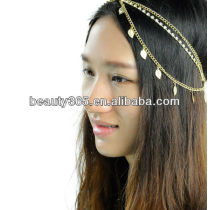 Stunning Gold Crystal Leaf Chains hair headbands accessoris for women crystal hair pin
