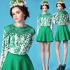 European style ladies long sleeve blouse lace splicing chiffon shirt SV001618#