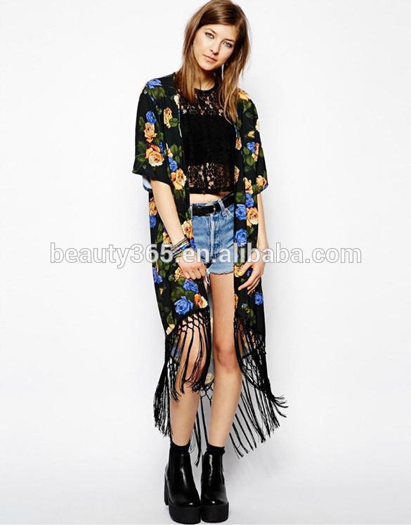 Womens Summer Ladies vintage boho clothing Floral Tassels long maxi cardigan Coat Blouse
