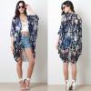 wholesale women Bohemia Ethnic Floral Print long chiffon cardigan Kimono Top Blouse