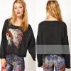 Stylish women's skull printing long sleeve shirt blouse tops SV001638#