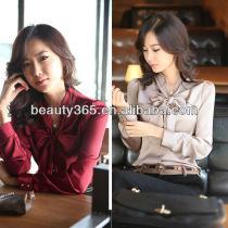 Latest Korean Women's bowtie OL puff Long Sleeve chiffon shirt