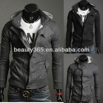 Men's Slim Top Designed Hoody Jacket Coat Dark Gray 4 size