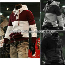 Fashion Korean mixed colors Men's Hoodie coat Slim Zip Designed big pockets stripe Jacket