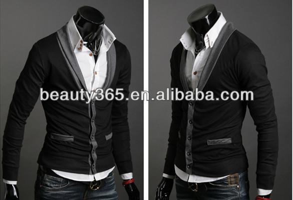 Men's Knitwear Cardigan Fake Pocket Design Slim Casual Sweater Coat