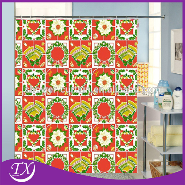 Waterproof fabric christmas gifts 100 polyester shower for Y h furniture trading