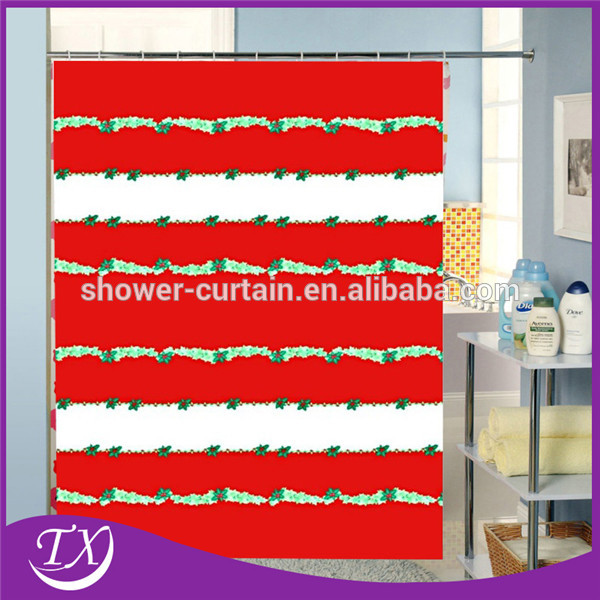 New design santa flower polyester fabric shower curtain for Y h furniture trading