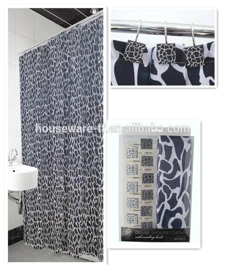 modern design polyester shower curtain with resin hooks