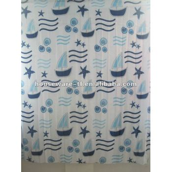 STAR DESIGN polyester shower curtain with 12 pcs resin hooks